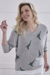 Women's Cashmere V-Neck Sweater in grey