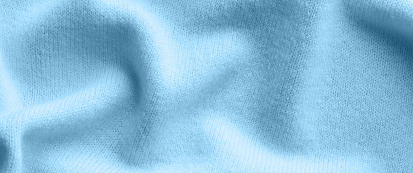 Close-up of blue cashmere sweater