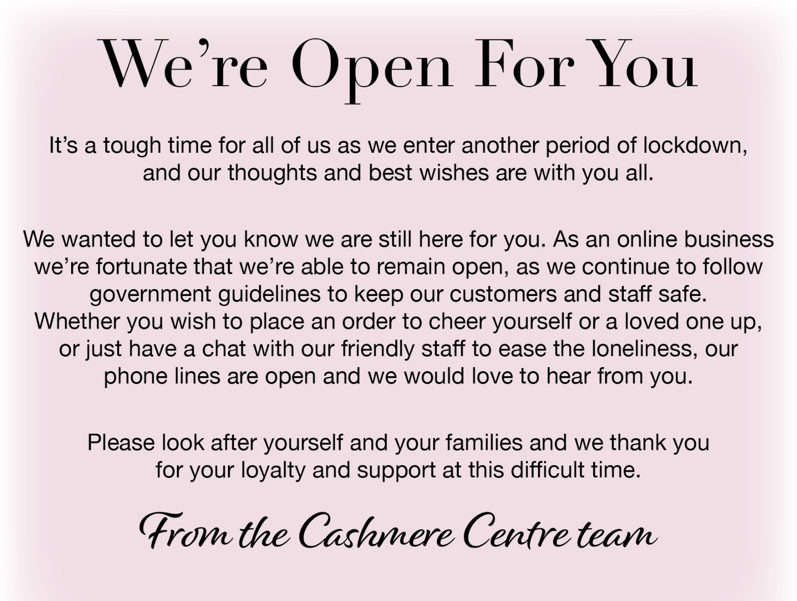 Cashmere Centre is open and working safely
